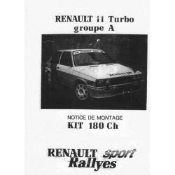 Renault 11 Turbo 180ch Catalogue De Pieces Competition