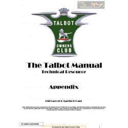 Talbot G12 Appendix