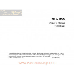 Acura 2006 Rsx User Manual