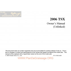 Acura 2006 Tsx User Manual