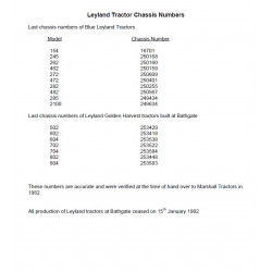 Leyland Tractor Chassis Numbers